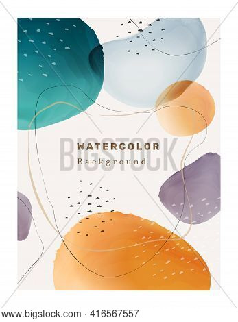 Creative Paintbrush Spots, Watercolor Blotch Blots Abstract 3d Textured Background. Vector Shapes An