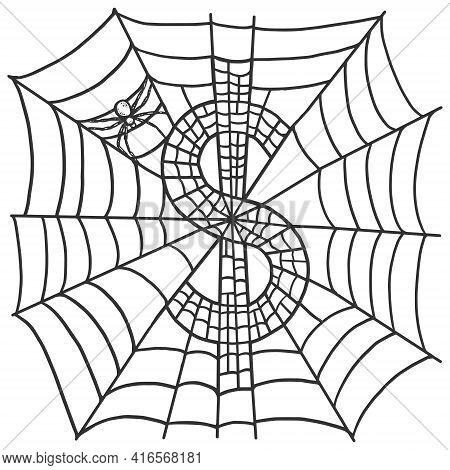 Finance, Spider Weaved From The Cobweb Dollar Symbol Sign. Sketch Scratch Board Imitation.