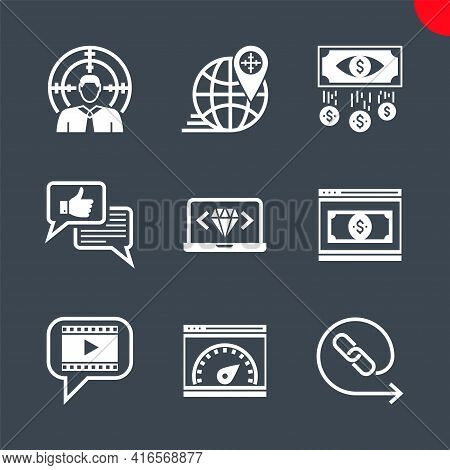 Seo Glyph Icons Set. Seo Related Vector Icons. Target Audience, Video Marketing, Backlinks, Landing