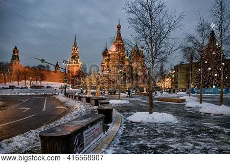 Moscow, Russia - January 15, 2021: A Splended View Of Moscow Kremlin, St. Basil's Cathedral And Chri