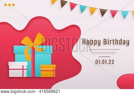 Discount Shop Online, Birthday Sale Banners With Cake Paper Cut And Papercraft Style. Celebration Ha