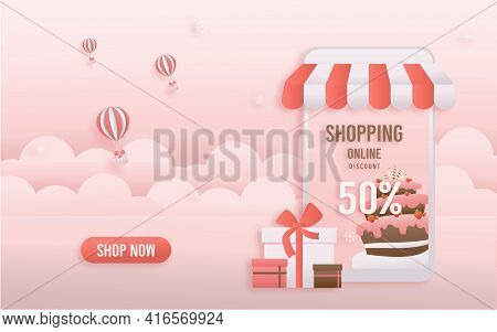 Discount Shop Online, Pink Birthday Sale Banners On Mobile With Cake Paper Cut And Papercraft Style.