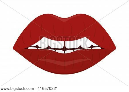 Plump Lips. The Seductive Mouth Is Slightly Open. Colored Vector Illustration. Flat Style. An Even R