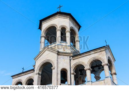 View To Chapel On Site To Sameba Cathedral Tsminda In Tbilisi (holy Trinity). Biggest Church Orthodo