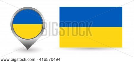 Vector Flag Ukraine. Location Point With Flag Ukraine Inside.