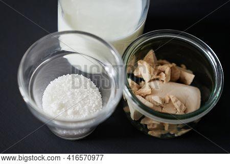 Fresh Wild Yeast, Milk And Sugar As Baking Bread Ingredients Concept. Yeast Starter Ingredients In T
