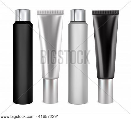 Cosmetic Bottle Mockup. Shampoo Container, Cream Tube, Beauty Product. Tooth Paste Vector Blank. Iso