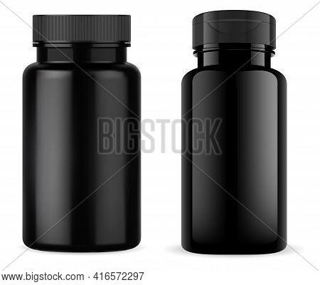 Black Pill Jar. Glossy Black Plastic Tablet Bottle, Vitamin Container Mockup. Medical Capsule Produc