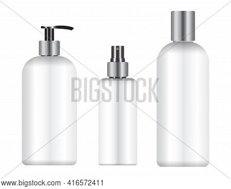 Cosmetic Bottle Package Mockup. Beauty Product Pack, Shampoo Or Soap Container, Shower Gel Template