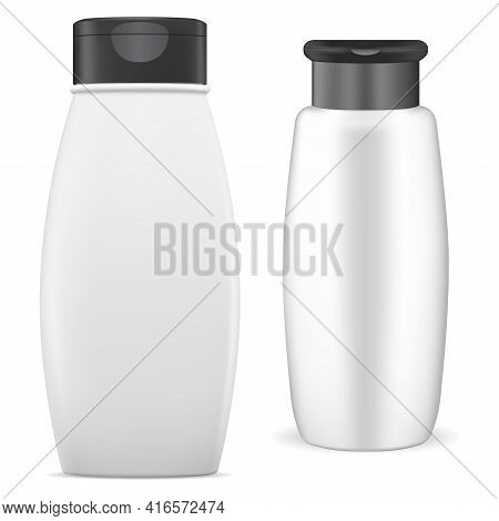 White Shampoo Bottle. Cosmetic Package Mockup. Plastic Tube, Spray, Collection, Bathroom Hygiene. Co