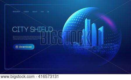 City Shield Blue Futuristic Background. Protect Future Technology Background. Abstract Blue City Dom