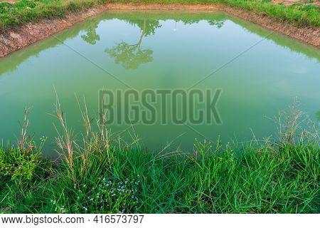 Agricultural Pound. Agricultural Landscape. Agricultural Ponds For Cultivation.