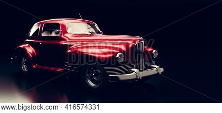 Classic retro car. Vintage vehicle. 3D illustration, brandless design