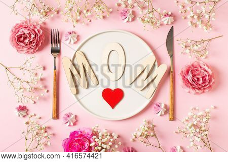 Spring And Mothers Day Table Layout With Plate And Tableware On Pink Background, Flat Lay, Copy Spac