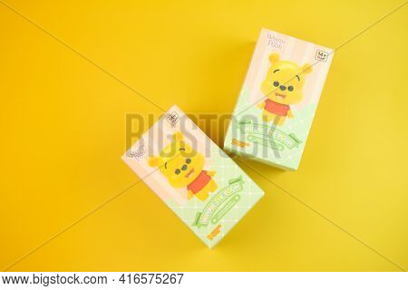 Bangkok, Thailand - April 12, 2021 : Winnie The Pooh Figures Mystery Box Blind Box Collection Is Ran