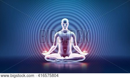 Man mind and body mindfulness. Yoga meditation - zen energy and spiritual wellbeing. 3D illustration