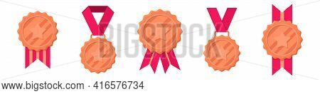Set Of Winner Bronze Medals With Red Ribbon And Star