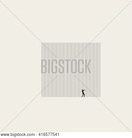 Oppression, Prison And Obstacle Vector Concept. Man Behind Bars. Symbol Of Cage, Captivity, Human Ri