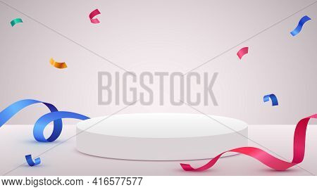 Abstract Scene Background. Cylinder Podium Background With Confetti And Ribbons. Product Presentatio