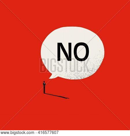 Say No Vector Concept With Man And Speech Bubble. Symbol Of Strength, Courage And Bravery. Minimal I
