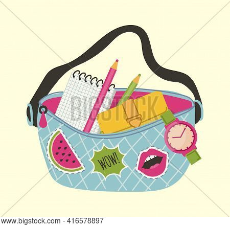 Teenager Bag. Cute Girly Accessory, Cartoon Labels On Textile. Purse, Notebook And Pencils, School H