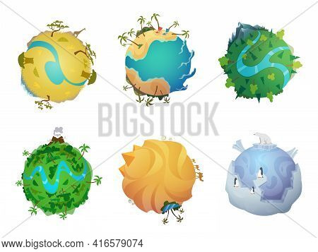 Cartoon Planet. Earth Visualization Of Different Climatic Zones Cold And Hot Surface Ice Snow Rocks