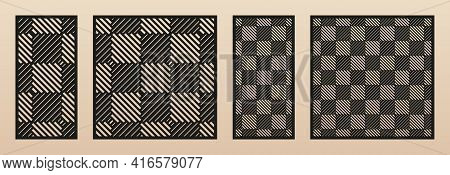 Laser Cut Panel Set. Abstract Geometric Pattern With Lines, Squares, Checkered Texture. Decorative T