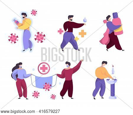 Hygiene Characters. Washing Hand With Soap Cleaning And Self Sanitizing People Surgical Protection G