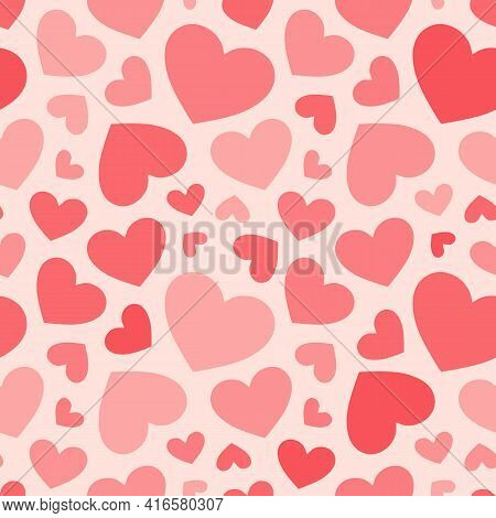 Hearts Seamless Pattern. Valentines Day Background. Red And Pink Colors. Love Romantic Theme. Vector