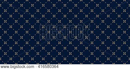 Golden Minimal Floral Geometric Seamless Pattern. Simple Vector Black And Gold Abstract Background W