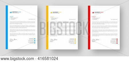 Corporate Modern Letterhead Design Template Set With Yellow, Blue And Red Color. Creative Modern Bus