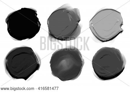 Abstract Black And Gray Shape Thick Watercolor Paint Texture