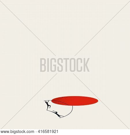 Business Overcome Obstacle Vector Concept. Man Jumps Over Hole. Symbol Of Challenge, Solution. Minim