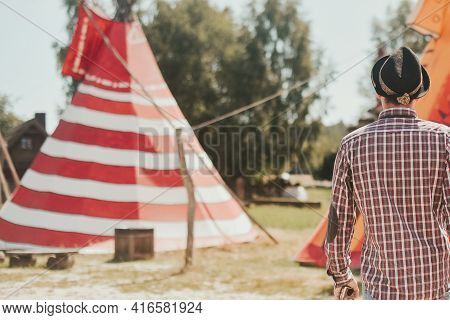 A Man Lives In A Field In A Teepee House. The Guy Travels A Lot And Enjoys Life. An Interesting Plac