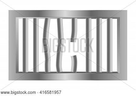 Broken Steel Prison Jail Window Bars Vector Template Design