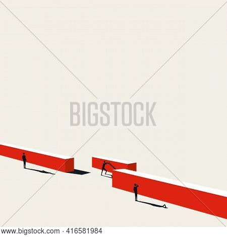 Business Leader Overcome Challenge And Obstacle Vector Concept. Symbol Of Success. Minimal Illustrat