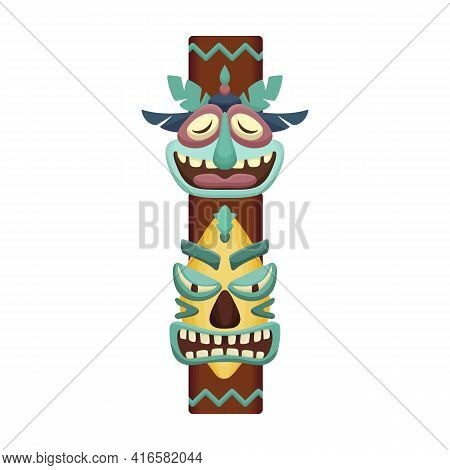 Totem Tribal Vector Cartoon Icon. Vector Illustration Totem Wood On White Background. Isolated Carto
