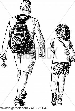 Freehand Drawing Of Father With His Little Daughter Walking Outdoors On Summer Day