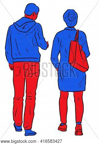 Drawing Of Couple Citizens Walking Outdoors Together