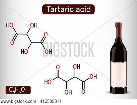 Tartaric Acid Molecule And Bottle Of Wine. It Is Antioxidant E334, Occurs In Grapes, Bananas, Tamari