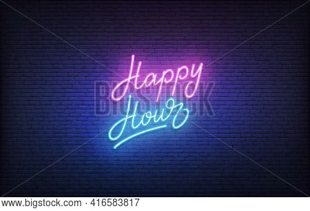 Happy Hour Neon Sign. Glowing Neon Lettering Happy Hour Template