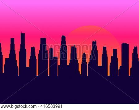 Evening Cityscape With Skyscrapers. Sunset Landscape, City View In A Flat Style. Contour Of Skyscrap