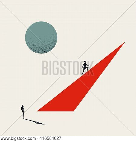 Business Inequality And Gender Gap Vector Concept. Symbol Of Discrimination, Unequal Opportunity. Mi