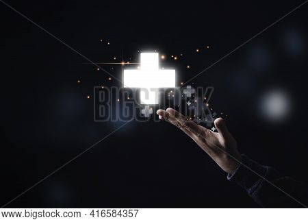 Businessman Showing Virtual Plus Sign Which It Mean Positive Sign Such As Add More Benefit Thinking