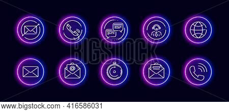 10 In 1 Vector Icons Set Related To Qna, Support Theme. Lineart Vector Icons In Neon Glow Style