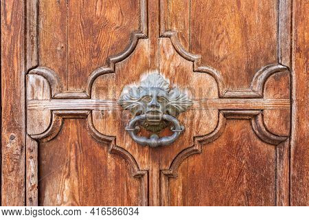 Antique Wooden Door With Handmade Center Handle