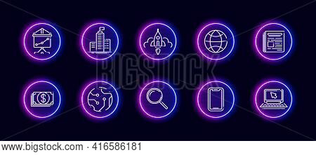10 In 1 Vector Icons Set Related To Hardware Development Theme. Lineart Vector Icons In Neon Glow St