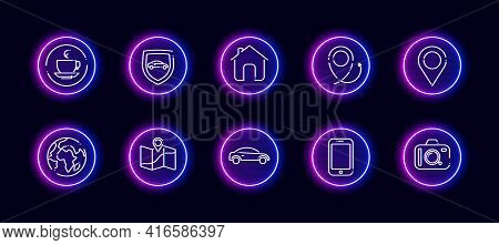 10 In 1 Vector Icons Set Related To Car Trip Theme. Lineart Vector Icons In Neon Glow Style