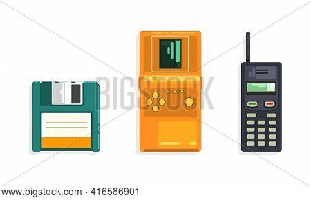 Retro Telecommunication Devices Set, Tetris Electronic Game Console, Portable Handheld Radio, Disket