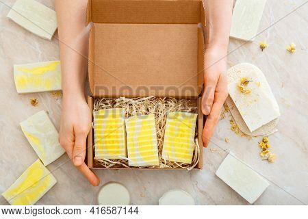 Gift Box With Set Of Natural Soap In Female Hands. Diy Soaps Kit. Many Various Homemade Bar Soaps. H
